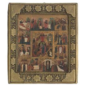Icona antica Dodici Feste basma Russia inizio XIX sec s1