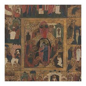 Icona antica Dodici Feste basma Russia inizio XIX sec s2