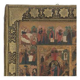 Icona antica Dodici Feste basma Russia inizio XIX sec s3