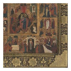 Icona antica Dodici Feste basma Russia inizio XIX sec s4