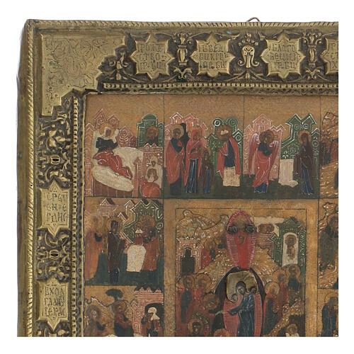 Icona antica Dodici Feste basma Russia inizio XIX sec 3