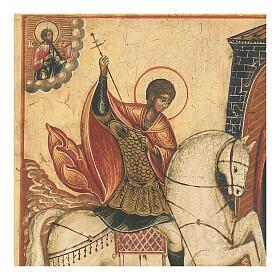 Icône ancienne Saint Georges bat le Dragon Russie XVIII siècle s2