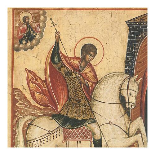 Icône ancienne Saint Georges bat le Dragon Russie XVIII siècle 2