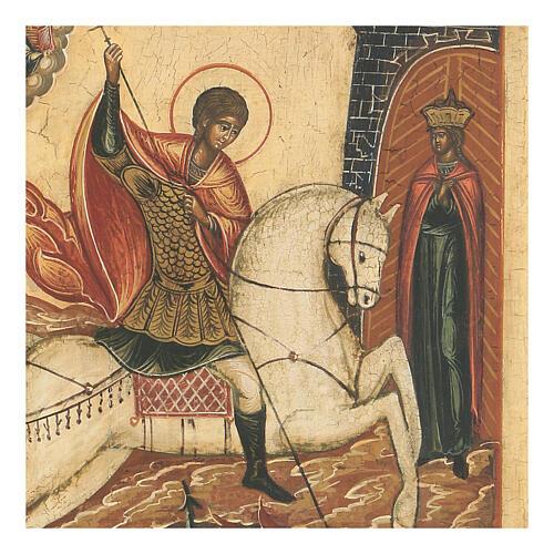 Icône ancienne Saint Georges bat le Dragon Russie XVIII siècle 3