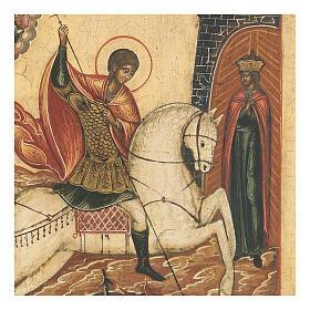 Icona antica San Giorgio sconfigge il Drago Russia XVIII sec s3