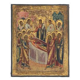 Icona russa Dormizione di Maria antica metà XIX sec s1