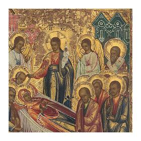 Icona russa Dormizione di Maria antica metà XIX sec s3