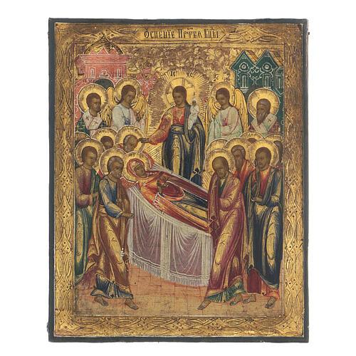 Icona russa Dormizione di Maria antica metà XIX sec 1