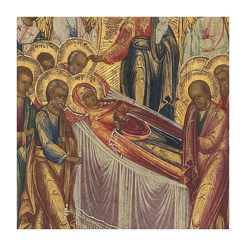 Icona russa Dormizione di Maria antica metà XIX sec 2