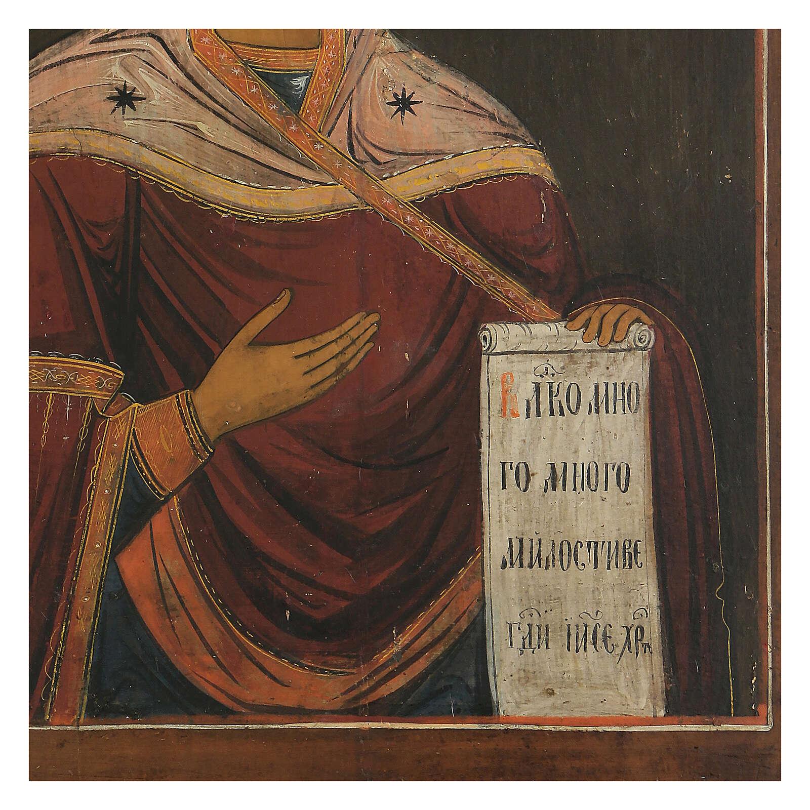 Icona antica Madonna della Deesis Russia XIX sec 4
