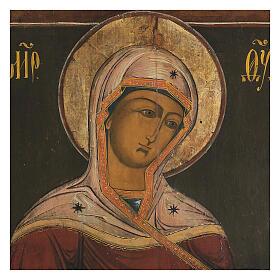 Icona antica Madonna della Deesis Russia XIX sec s2