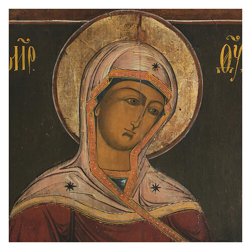 Icona antica Madonna della Deesis Russia XIX sec 2