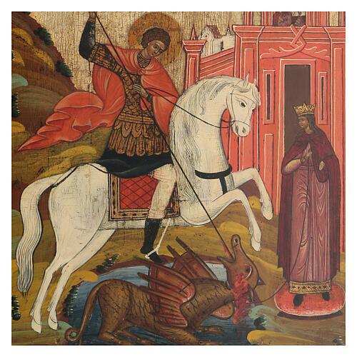 Icona San Giorgio e il Drago Russia antica XIX sec 2