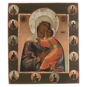 Icona antica Madonna di Vladimir e Santi Russia XIX sec s1