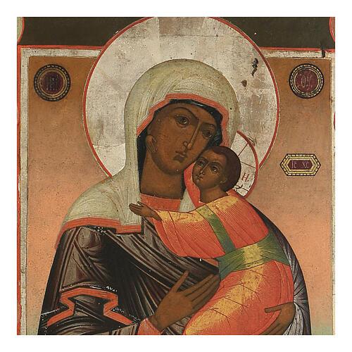 Icona antica Madonna di Vladimir e Santi Russia XIX sec 2