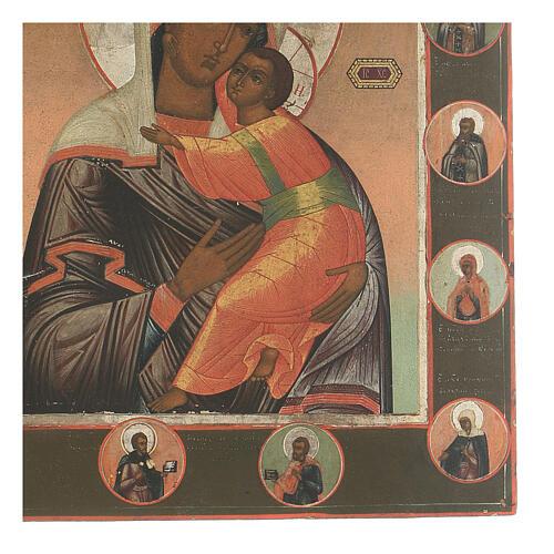 Icona antica Madonna di Vladimir e Santi Russia XIX sec 3