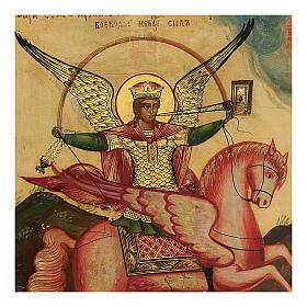 Ícone antigo Arcanjo Miguel, Rússia, século XIX, 32x27 cm