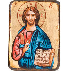 Rumanian hand-painted icons: Christ Pantocrator Icon opened book Romania