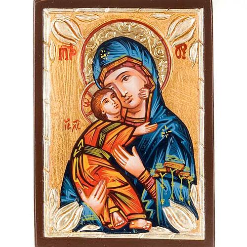 Icône Roumanie Mère de Dieu de Vladimir bleue 1