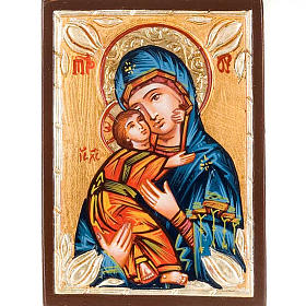 Rumanian hand-painted icons: Icon Mother of God of Vladimir in blue, Romania