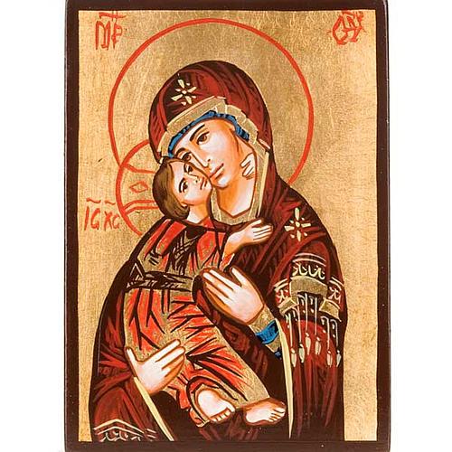 Ícono Rumanía Madre Vladirmir manto rojo pintada a 1