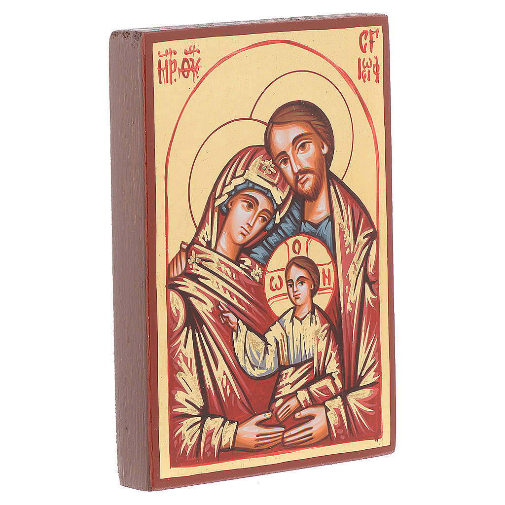 Icona Romania Sacra Famiglia decoro rosso 4