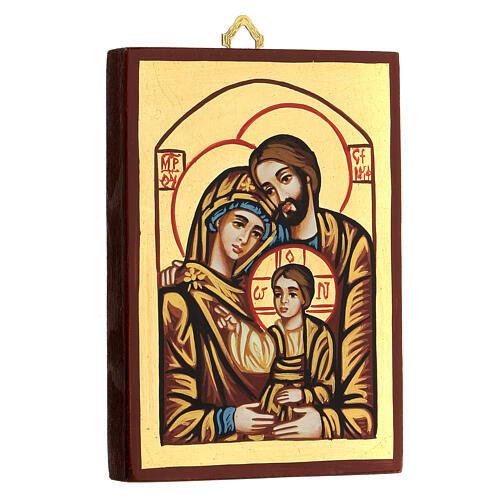 Icona Romania Sacra Famiglia decoro rosso 2