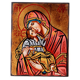 Rumanian hand-painted icons: Icon, Our Lady of Tenderness with irregular edges
