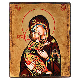 Rumanian hand-painted icons: Icon, Our Lady of the Don with red mantle, antique finish