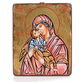 Icone de la Mère de Dieu de la tendresse manteau rouge s1