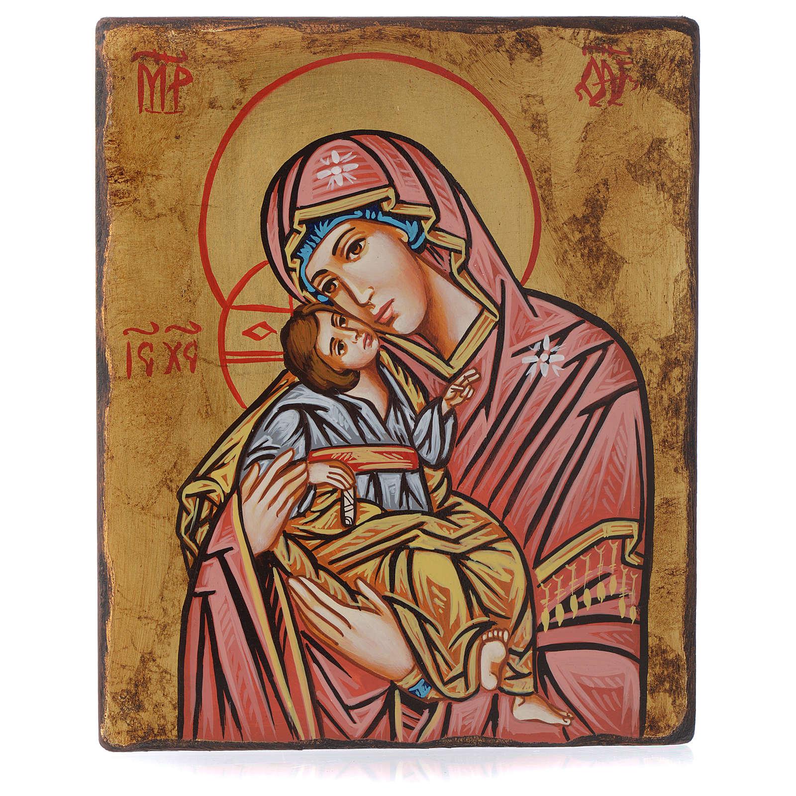 Icona Vergine della Tenerezza manto rosso antichizzata 4