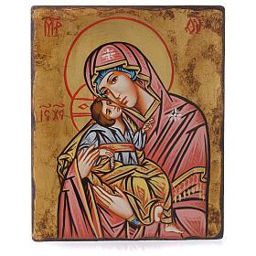 Icona Vergine della Tenerezza manto rosso antichizzata s4