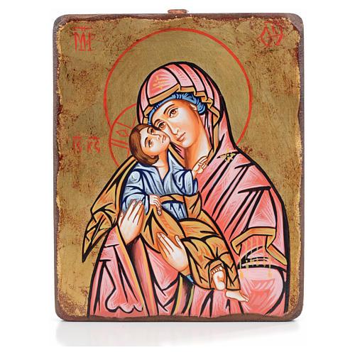 Icona Vergine della Tenerezza manto rosso antichizzata 1