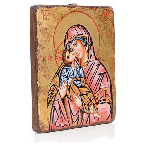 Icona Vergine della Tenerezza manto rosso antichizzata 2