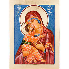 Rumanian hand-painted icons: Virgin of Vladimir, light blue backdrop