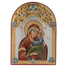 Rumanian hand-painted icons: Virgin of Tenderness icon, decorated