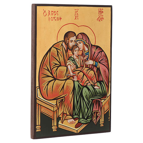 Icône sainte famille, fond en or, veste rouge 2