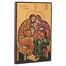 Icona Sacra Famiglia fondo oro manto rosso s2