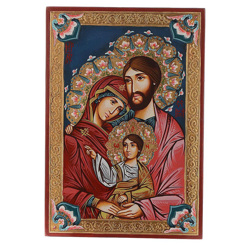 Icona Sacra Famiglia dipinta a mano rumena 4