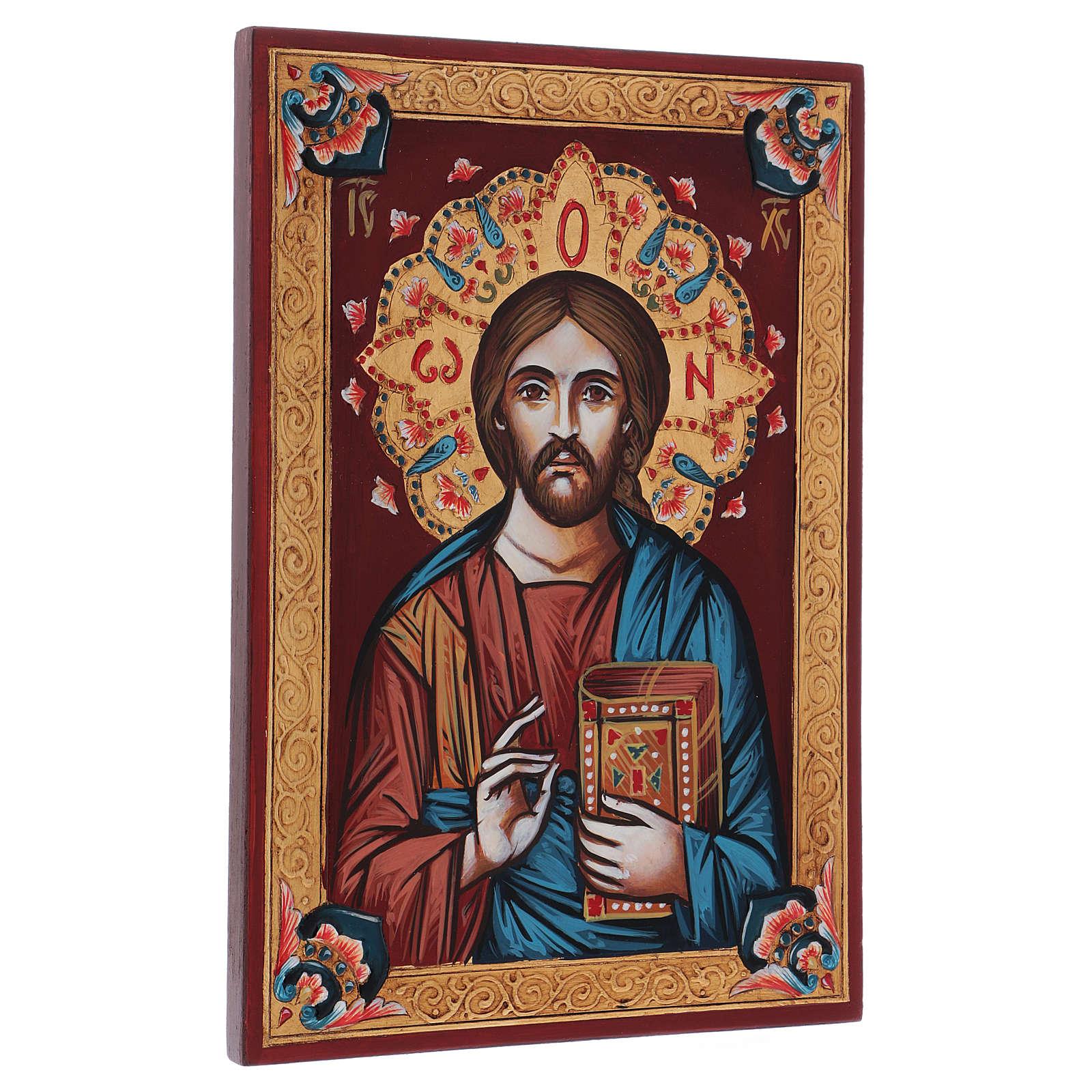 Icona dipinta a mano Pantocratore libro chiuso 4