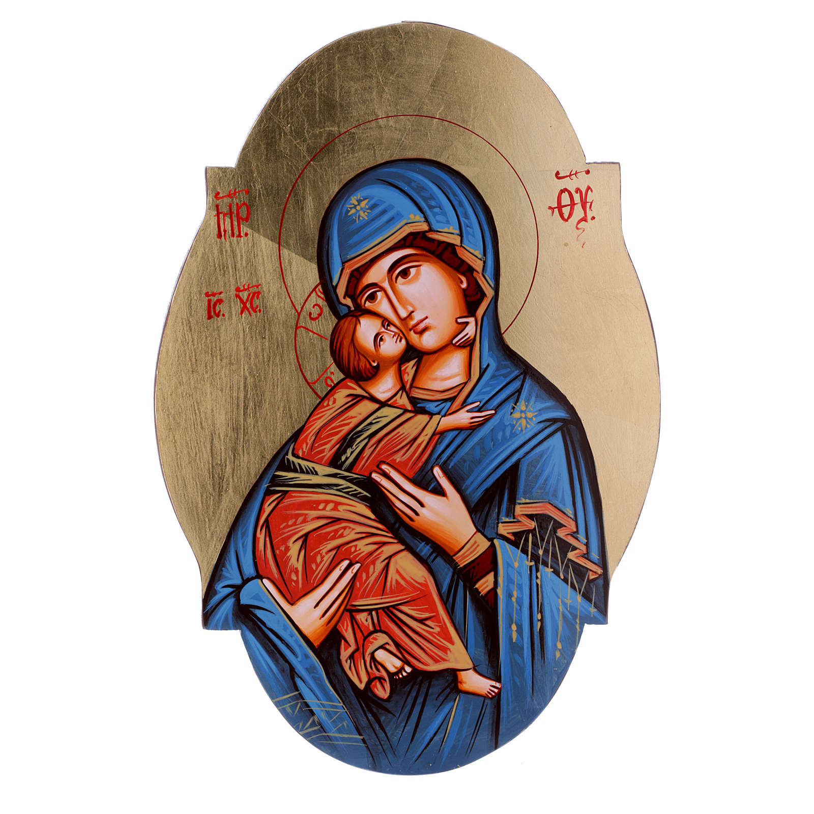 Icona Madonna Vladimir manto blu sagomata ovale 4