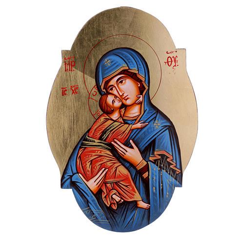 Icona Madonna Vladimir manto blu sagomata ovale 1