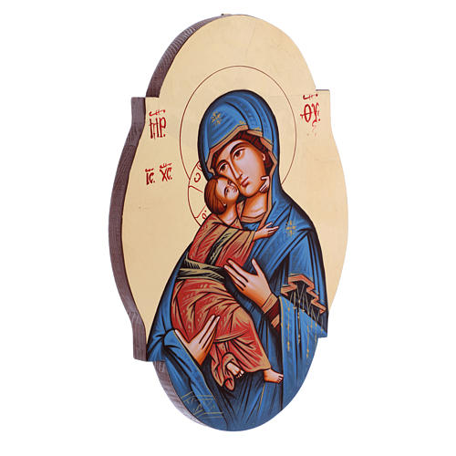 Icona Madonna Vladimir manto blu sagomata ovale 2