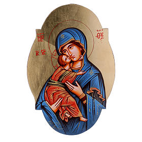 Rumanian hand-painted icons: Our Lady of Vladimir icon with blue mantle, oval shape
