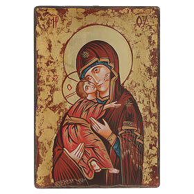 Rumanian hand-painted icons: Our Lady of the Vladimir icon with irregular edges