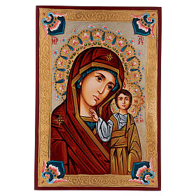 Rumanian hand-painted icons: Our Lady of Kazan icon with polychrome decorations