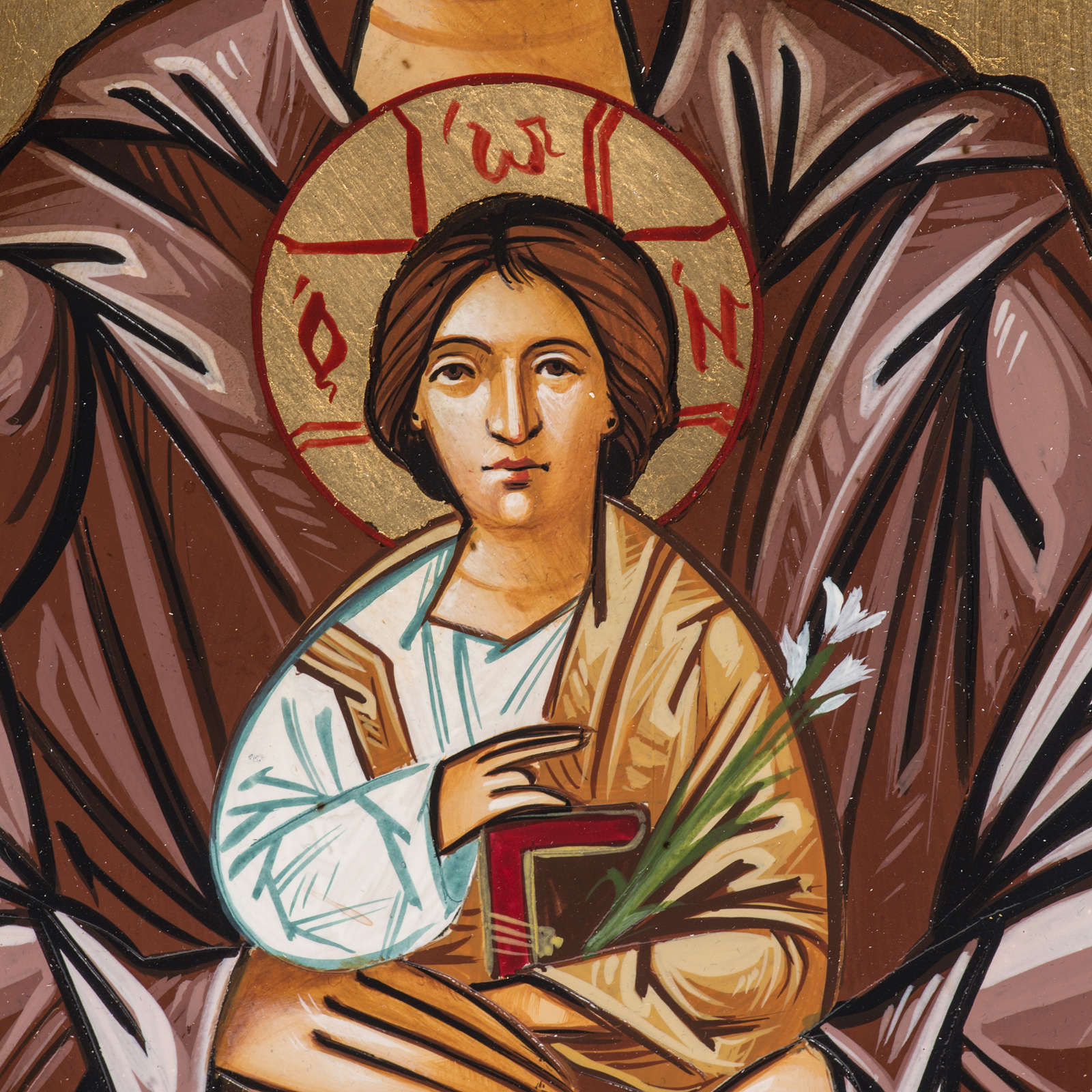 Icona dipinta Romania Sant'Antonio bambino fiore 22x32 cm 4