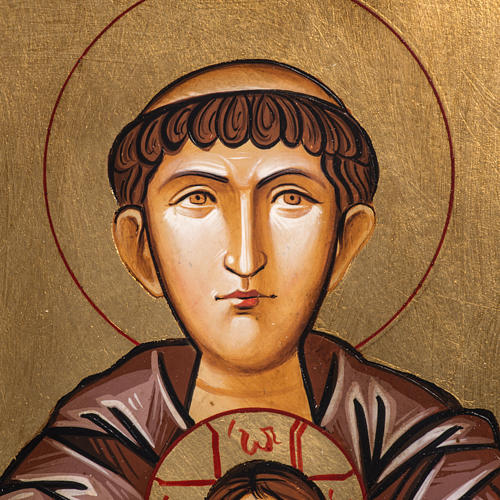 Icona dipinta Romania Sant'Antonio bambino fiore 22x32 cm 3