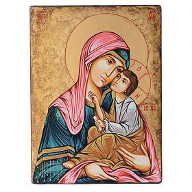 Icona Romani dipinta Madonna con bambino 40x30 cm s1