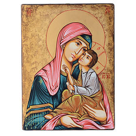 Rumanian hand-painted icons: Romanian icon Madonna with Child, hand painted on wood 40x30 cm